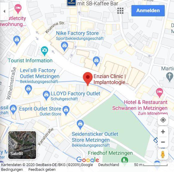 2020-11-04 Enzian Clinic Pfeifle-Werz Metzingen Zahnarzt-Schönheitschirurgie-angstfreie Zahnbehandlung-Lidstraffung - googleMaps